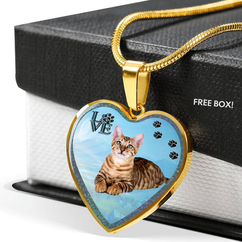 Toyger Cat Print Heart Charm Necklaces-Free Shipping