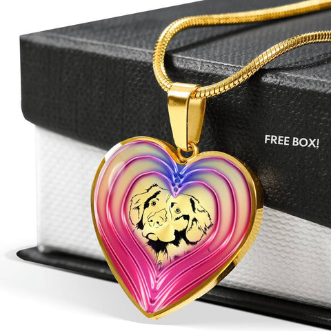 Nova Scotia Duck Tolling Retriever Dog Print Heart Charm Necklaces-Free Shipping