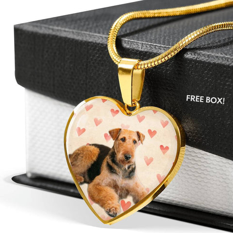 Airedale Terrier Print Luxury Heart Charm Necklace -Free Shipping