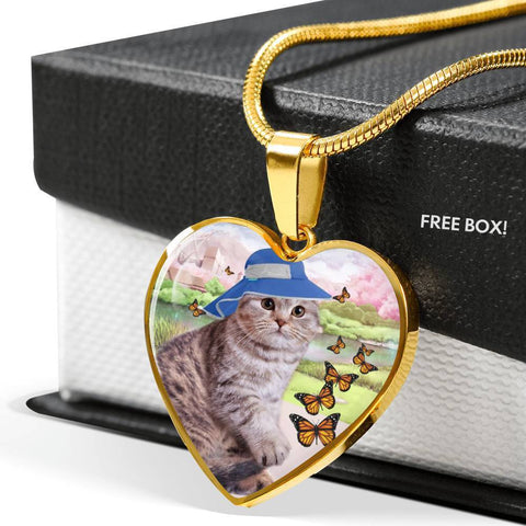 Scottish Fold Cat Print Heart Pendant Luxury Necklace-Free Shipping