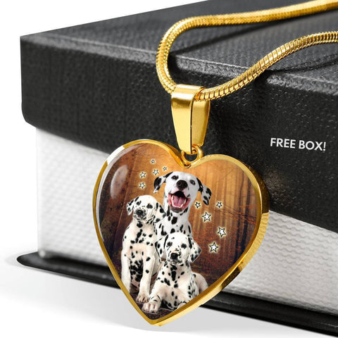 Dalmatian Dog Print Heart Pendant Luxury Necklace-Free Shipping
