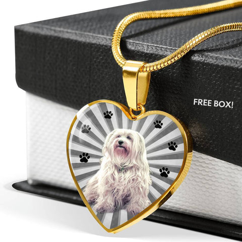 Havanese Dog Print Heart Charm Necklace-Free Shipping
