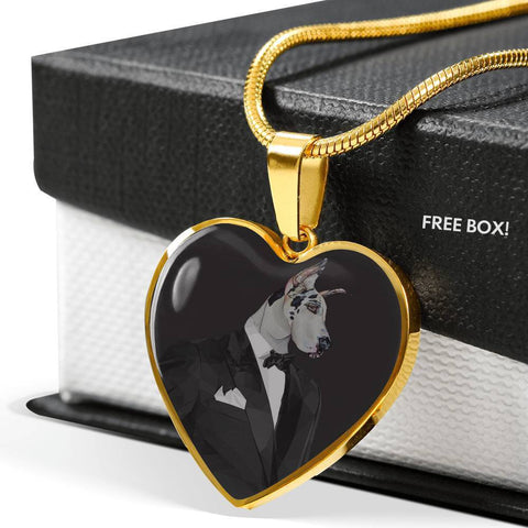 Amazing Great Dane Dog Print Heart Pendant Luxury Necklace-Free Shipping