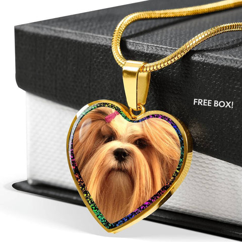 Lhasa Apso Dog Print Heart Charm Necklaces-Free Shipping