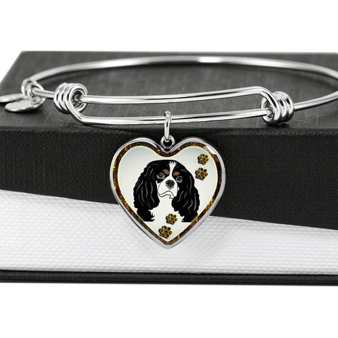 Cavalier King Charles Spaniel Dog Print Heart Pendant Bangle-Free Shipping