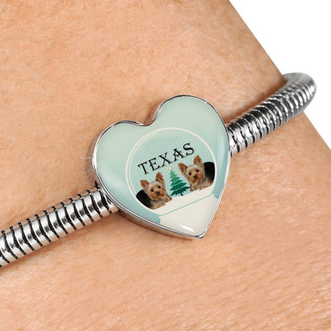 Yorkshire Terrier (Yorkie) Texas Print Heart Charm Steel Bracelet-Free Shipping