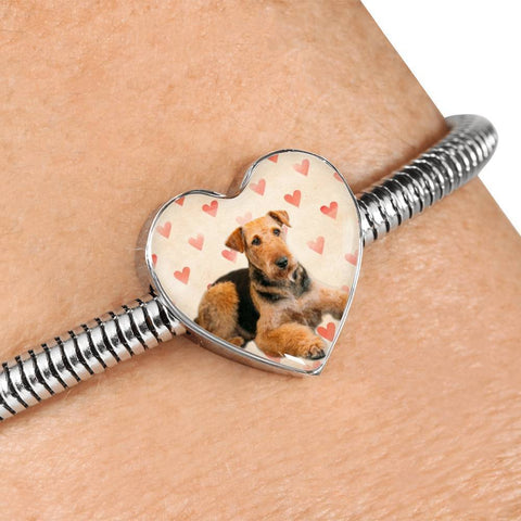 Airedale Terrier Print Luxury Heart Charm Bracelet-Free Shipping