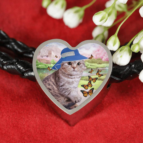Scottish Fold Cat Print Heart Charm Leather Bracelet-Free Shipping