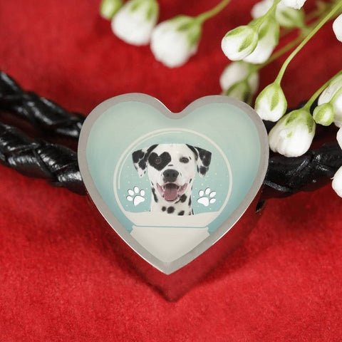 Dalmatian Dog Print Heart Charm Leather Bracelet-Free Shipping