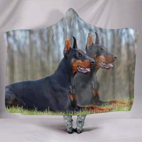Doberman Pinscher Dog Print Hooded Blanket-Free Shipping