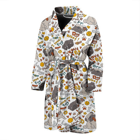 I Love My Pug Men's Bath Robe
