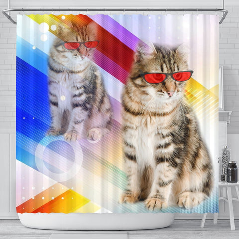 Siberian Cat Red Glasses Print Shower Curtain-Free Shipping