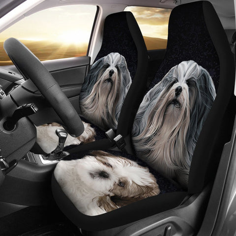 Cute Lhasa Apso Dog Print Car Seat Covers-Free Shipping