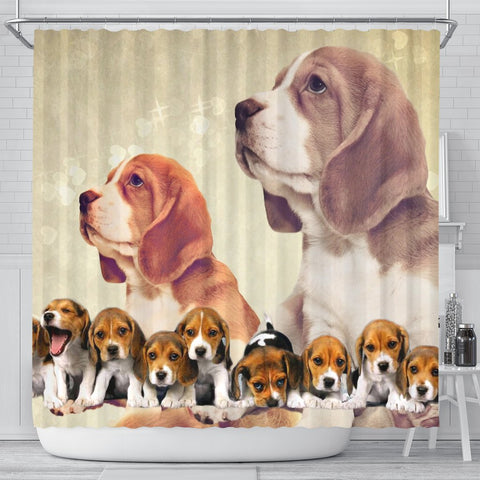 Cute Beagle Print Shower Curtain-Free Shipping