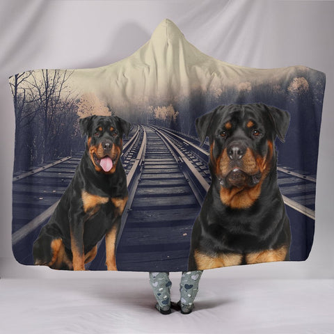 Amazing Rottweiler Print Hooded Blanket-Free Shipping