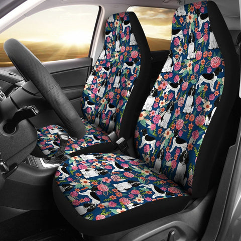 English Springer Spaniel Dog Floral Print Car Seat Covers-Free Shipping
