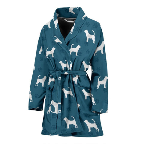Bloodhound Dog Pattern Print Women's Bath Robe-Free Shipping