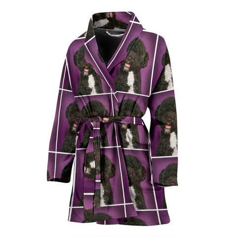 Spanish Water Dog Print Women's Bath Robe-Free Shipping