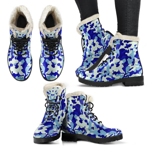 Blue Camouflage Faux Fur Lined Boots