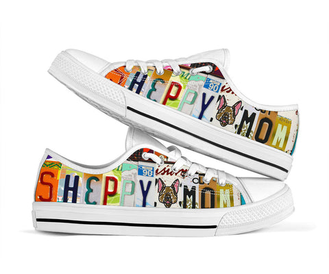 Sheppy Mom Low Top Shoes License Plate Design- Perfect Sheppy Owner Gift
