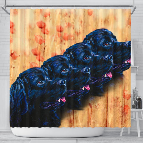 Newfoundland Dog Art Print Shower Curtains-Free Shipping