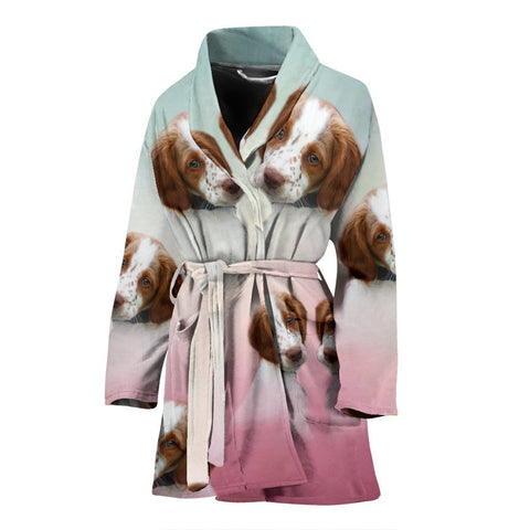 Cute Brittany Dog Print Women's Bath Robe-Free Shipping