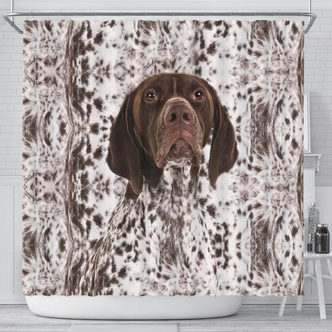 German Shorthaired Pointer Print Shower Curtain-Free Shipping