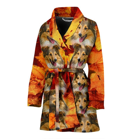 Shetland Sheepdog Print Women's Bath Robe-Free Shipping