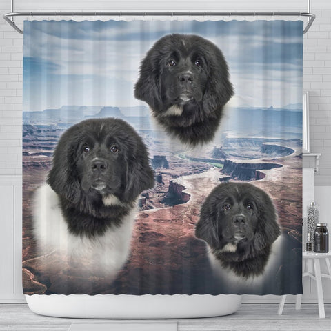 Lovely Newfoundland Dog Print Shower Curtains-Free Shipping