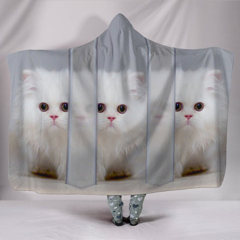 White Persian Cat Print Hooded Blanket-Free Shipping-Special Edition