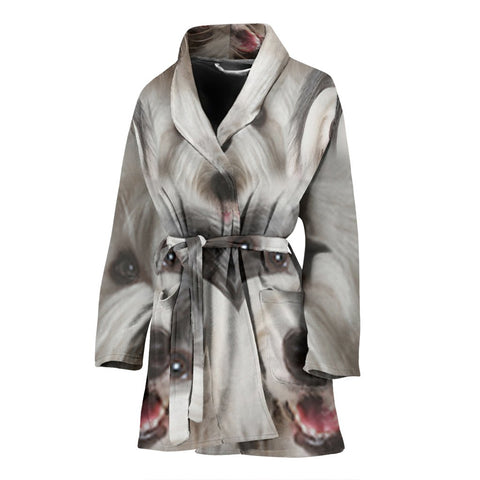 Old English Sheepdog Print Women's Bath Robe-Free Shipping