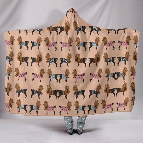 Cute Yorkie Pattern Print Hooded Blanket-Free Shipping