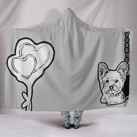 Yorkie with Love Print Hooded Blanket-Free Shipping