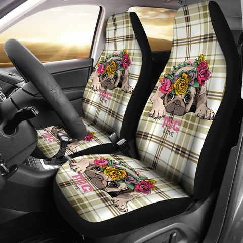 Flower Pug Car Seat Covers