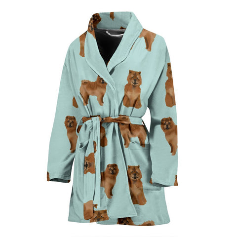 Chow Chow Dog Pattern Print Women's Bath Robe-Free Shipping