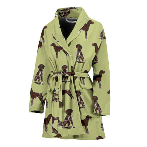 German Shorthaired Pointer Dog Pattern Print Women's Bath Robe-Free Shipping