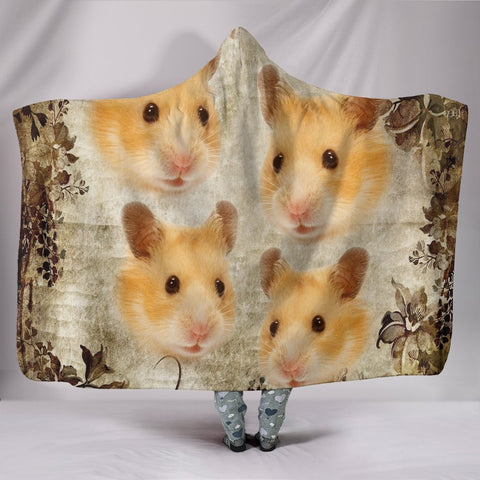 Lovely Golden Hamster Print Hooded Blanket-Free Shipping