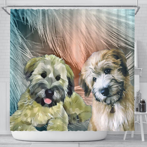 Soft Coated Wheaten Terrier Print Shower Curtains-Free Shipping