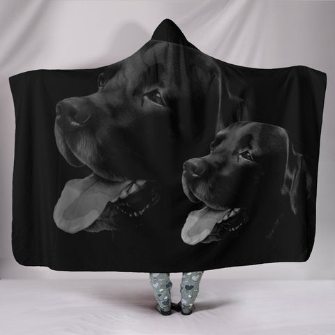 Black Labrador Retriever Print Hooded Blanket-Free Shipping