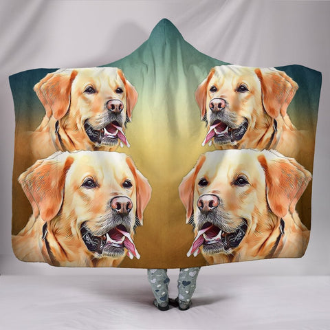 Cute Labrador Retriever Print Hooded Blanket-Free Shipping