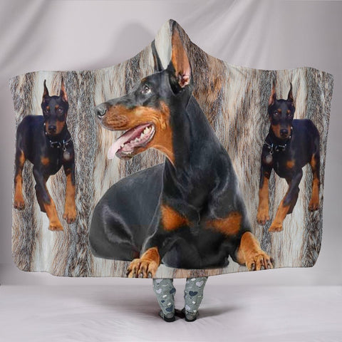 Doberman Pinscher Print Hooded Blanket-Free Shipping