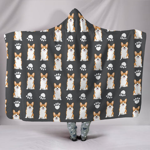 Pembroke Welsh Corgi With Paws Print Hooded Blanket-Free Shipping