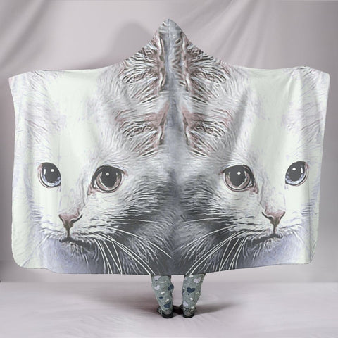 Turkish Angora Cat Print Hooded Blanket-Free Shipping