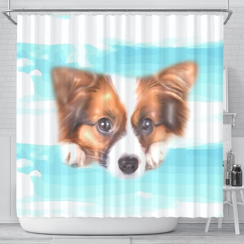 Papillon Dog Print Shower Curtain-Free Shipping