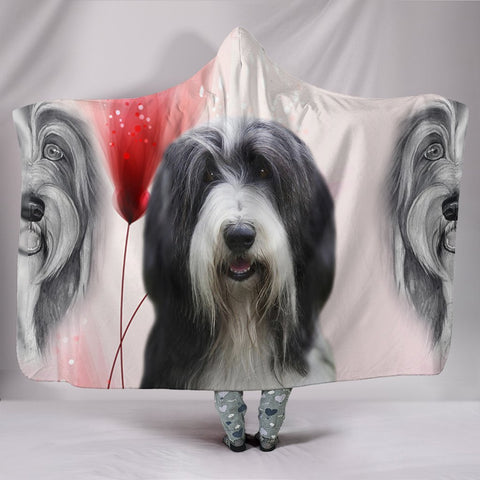 Bearded Collie Print Hooded Blanket-Free Shipping