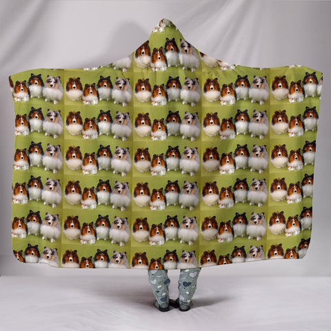 Shetland Sheepdog Pattern Print Hooded Blanket-Free Shipping