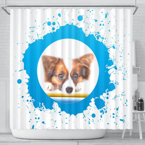 Cute Papillon Dog Print Shower Curtain-Free Shipping