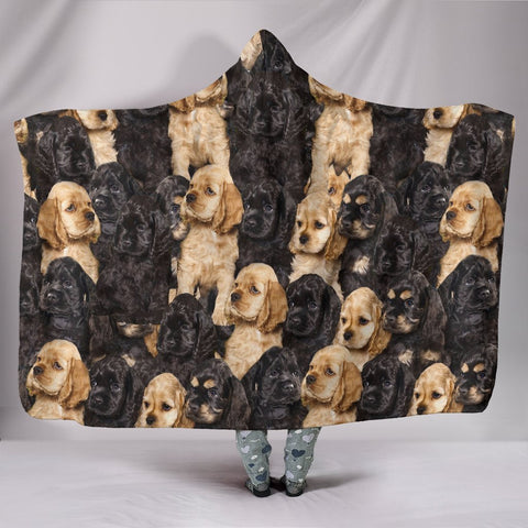 Cocker Spaniel In Lots Print Hooded Blanket-Free Shipping