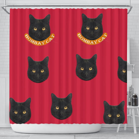 Cute Bombay cat Print Shower Curtain-Free Shipping