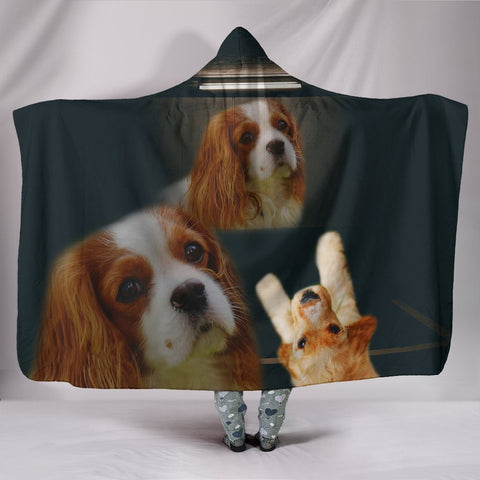 Cavalier King Charles Spaniel Dog Print Hooded Blanket-Free Shipping